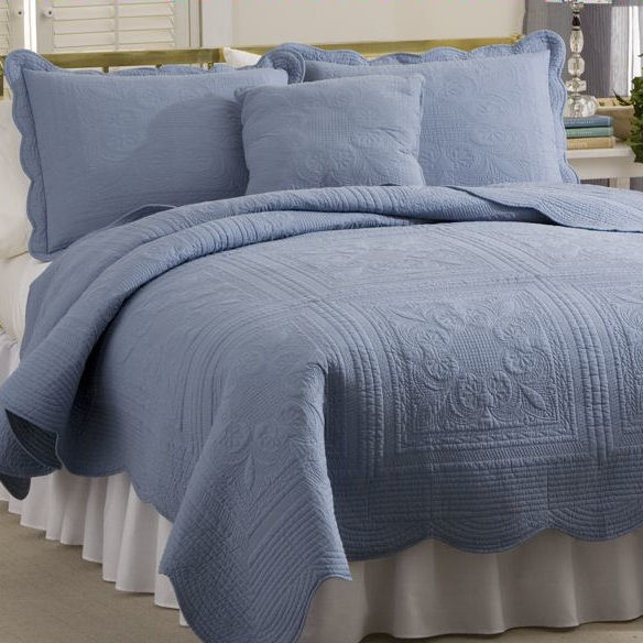 French Tile Solid Quilt In Blue Townhouse Linens
