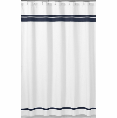 Hotel White And Navy Shower Curtain Townhouse Linens