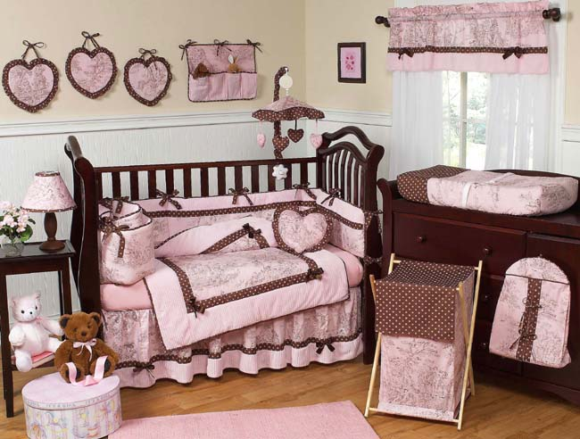 Pink Brown Toile 9pc Crib