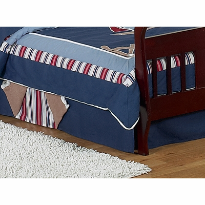 Nautical Nights Sailboat Toddler Bed Skirt Townhouse Linens