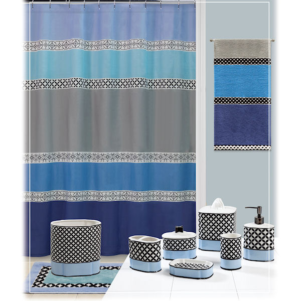 Madrid blue gray shower curtain bath accessories by for Blue and grey bathroom sets