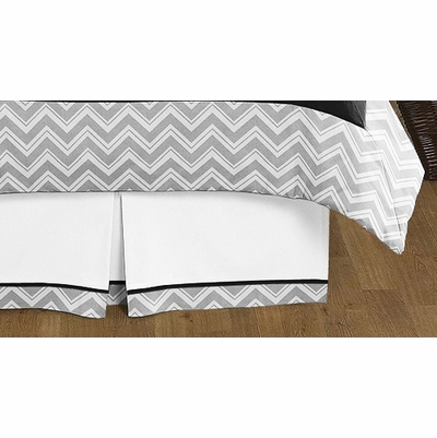 zig zag black and gray queen bed skirt townhouse linens. Black Bedroom Furniture Sets. Home Design Ideas