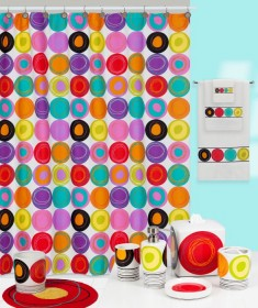 dot swirl bright shower curtain and bath accessories by