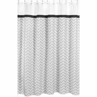 Zig zag black and gray shower curtain townhouse linens for Zig zag bathroom decor
