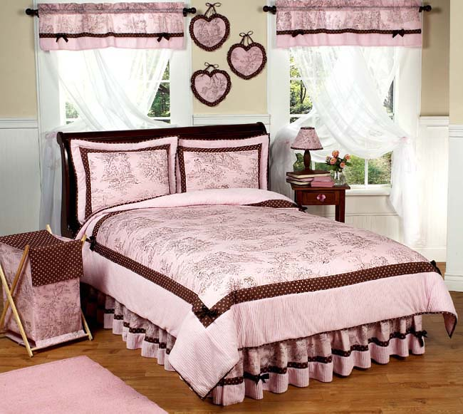Pink Brown Toile 3pc Full Queen Comforter Set Teen