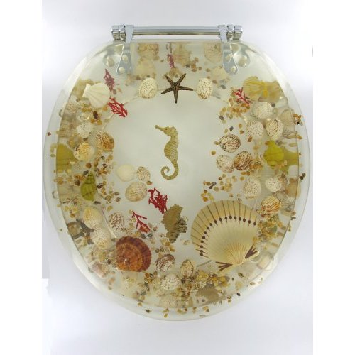 Home bath shop toilet seats elongated jewel seashell clear acrylic