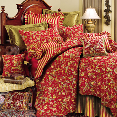 Caspienne Floral Red And Gold Quilt And Accessories By C