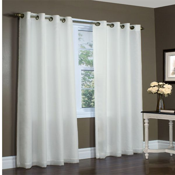 Rhapsody Ivory Thermavoile Semi Sheer Lined Grommet Top Curtain Panel ...