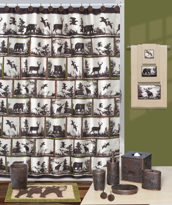 Rustic Montage Deer Lodge Shower Curtain And Bath Accessories By Creative