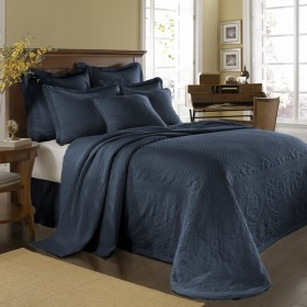 Provincial Blue King Charles Bedspread And Coverlet