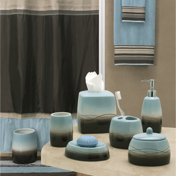 Mystique brown blue shower curtain and accessories by Bathroom colors blue and brown