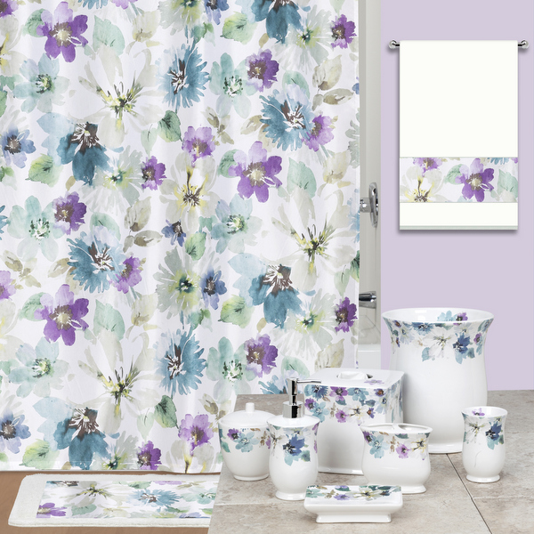 Bouquet Floral Accent Shower Curtain and Accessories By