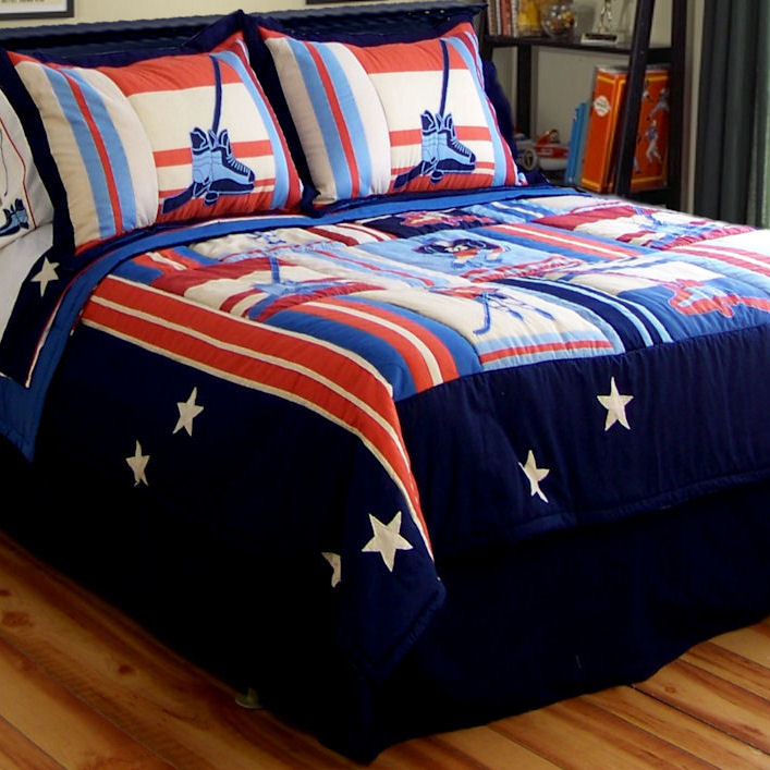 Hockey Quilt With Pillow Sham Townhouse Linens