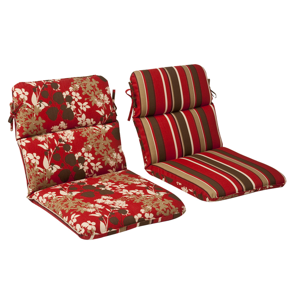 Red Brown Floral Striped Chair Cushion Rounded Reversible
