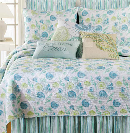 St Augustine Aqua And Green Seashell Quilt And