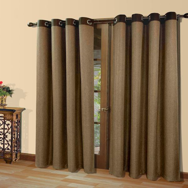 Harrison Herringbone Menswear Grommet Top Curtain Panel Townhouse Linens