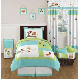 Hooty Owl Turquoise And Lime 4pc Twin Comforter Set Bedding