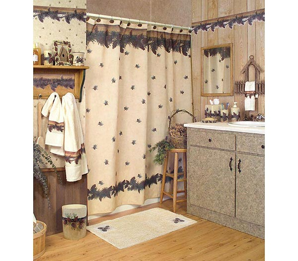 Pinecone Lodge Shower Curtain And Bath Accessories