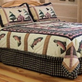Gone Fishing Lodge Theme Quilt Set Townhouse Linens