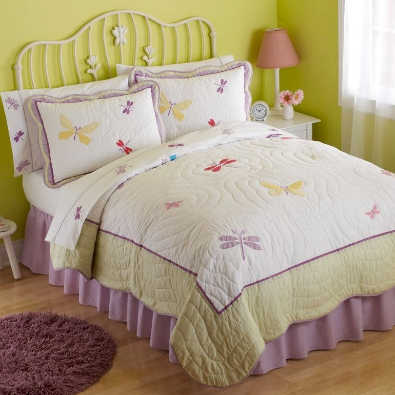 Dragonfly Butterfly Quilt With Pillow Sham Townhouse Linens