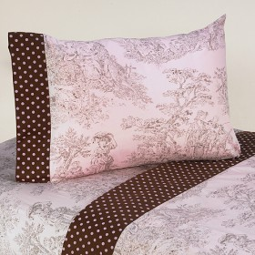 Pink Brown Toile 4pc Queen Sheet Set Flat Fitted 2