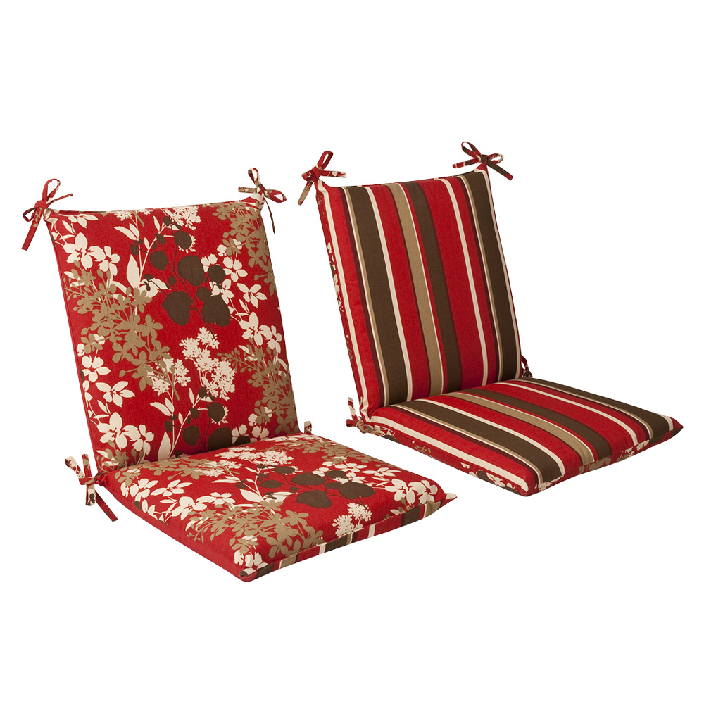 Red Brown Floral Striped Chair Cushion Squared Reversible