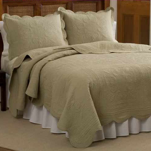 French Tile Solid Quilt In Beige Townhouse Linens