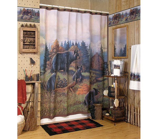 Black Bear Lodge Shower Curtain And Bath Accessories