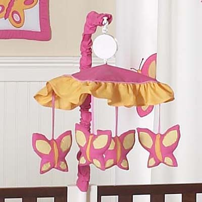 Butterfly Pink And Orange Musical Mobile Includes Frame