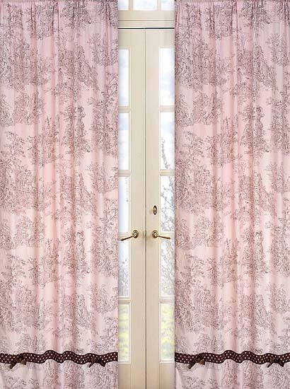 Pink Brown Toile Window Panels Set Of 2 42in W X 84in