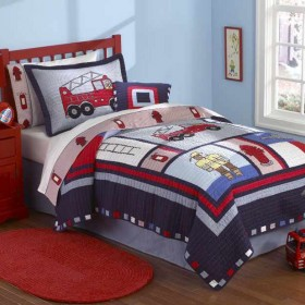 Fireman Quilt With Pillow Sham Townhouse Linens
