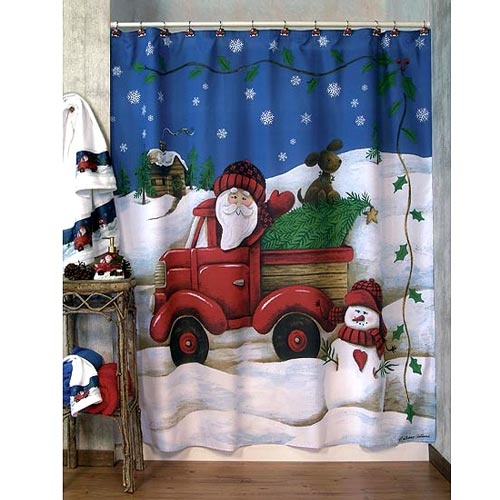 Truckin With Santa Shower Curtain And Bath Accessories