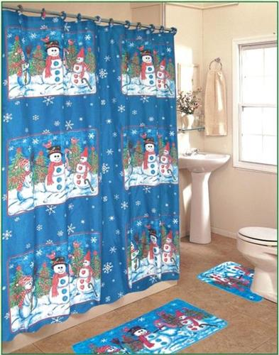 holiday snowmen 4pc shower curtain christmas bathroom set townhouse