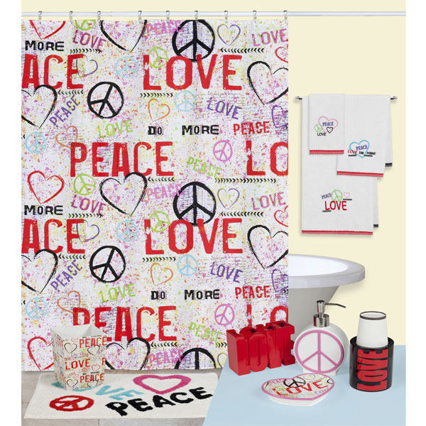 Graffiti Love Peace Sign Shower Curtain And Accessories By Creative