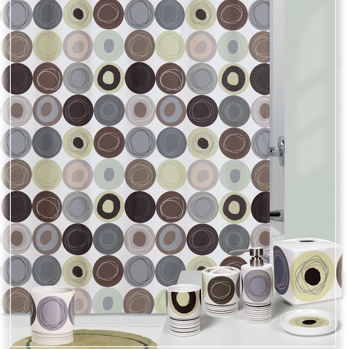 Dot Swirl Citron Shower Curtain And Bath Accessories By