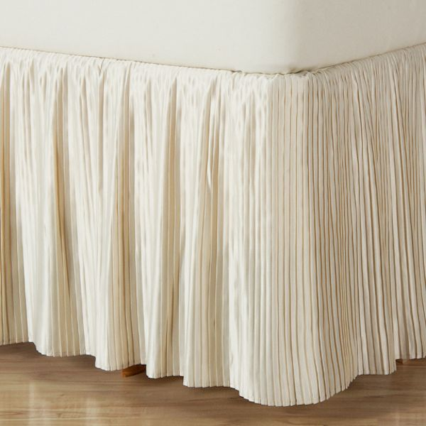 Hyde Park Mini Pleat Ivory Satin Bedskirt 14 Quot And 18