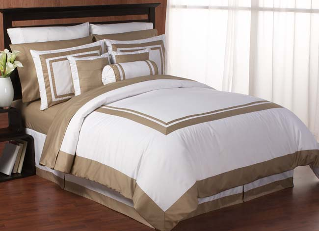 Hotel Spa White And Taupe Duvet Comforter Cover 6 Pc