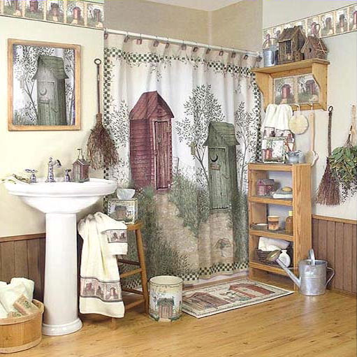 Outhouse shower curtain country shower curtian for Outhouse bathroom ideas