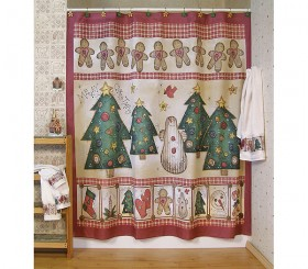 Gingerbread House Holiday SHOWER CURTAIN Hooks Bath NEW