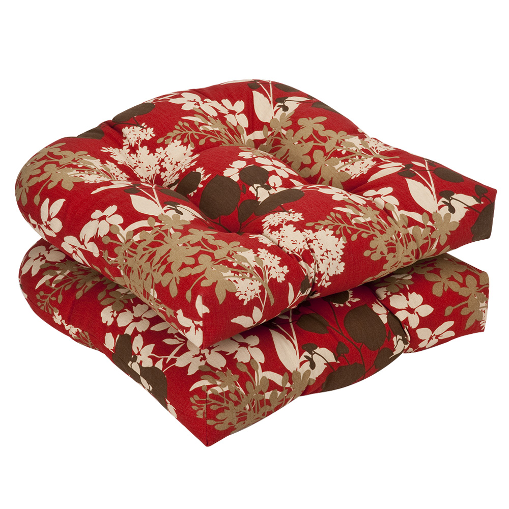 Red Brown Floral Wicker Seat Cushions Set of 2 19Lx19Wx5H Townhouse Linens
