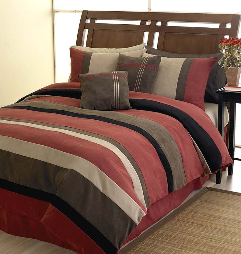 Jacaranda Striped Brick Red Black Chocolate Camel Microsuede 6 Pc Duvet Cover Set